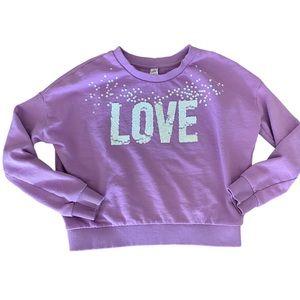 JUSTICE Purple Cropped SWEATSHIRT LOVE Sequins 12